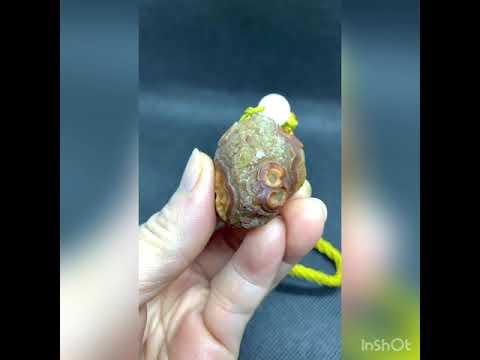 免運費 阿拉善瑪瑙戈壁石~眼睛石吊飾(K2-4)戈壁沙漠風化而形成