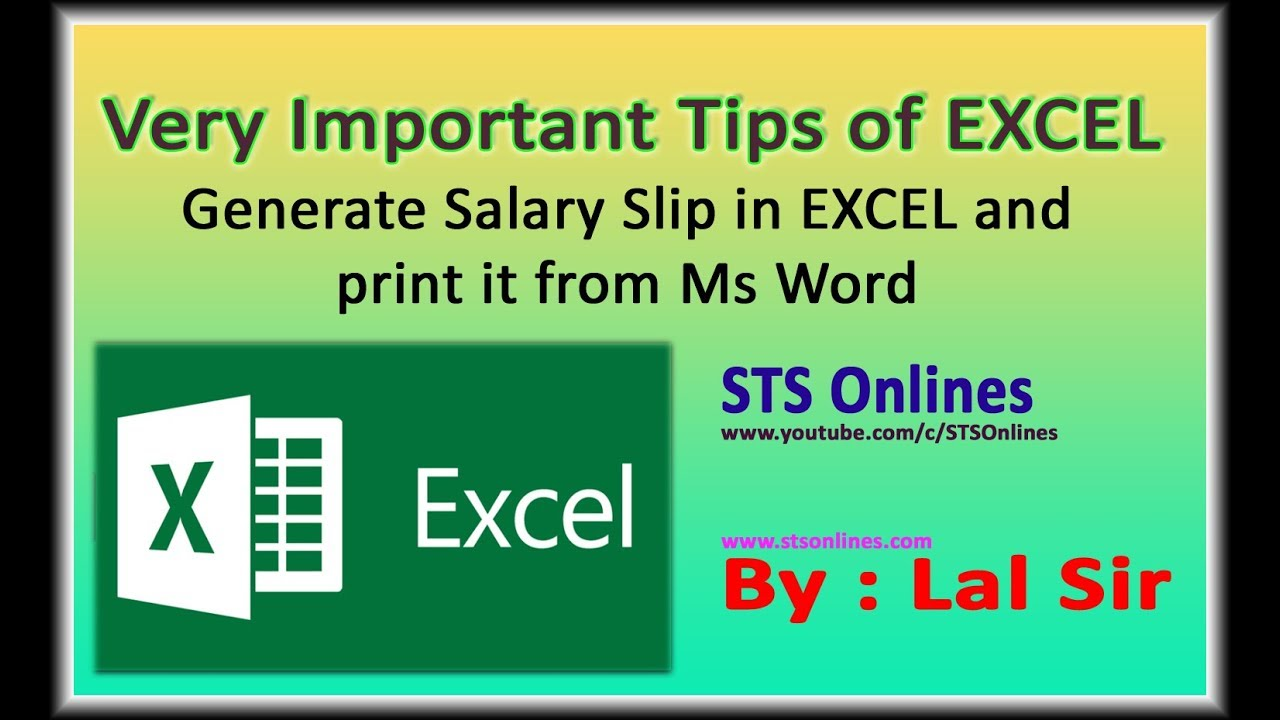 Ms-Excel 2010 Tutorials in Hindi || Salary Slip || - YouTube