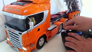 BRUTUS - TAMIYA Scania R620 tamiya com carreta caçamba brutus
