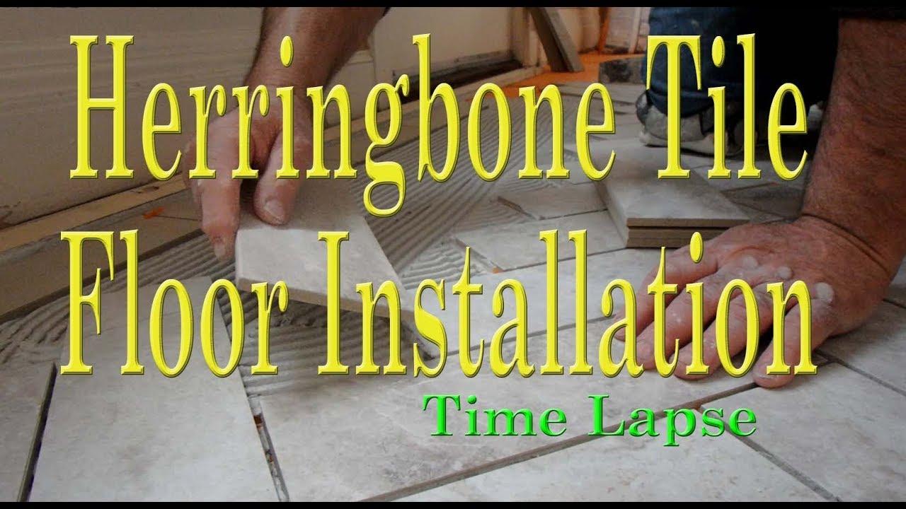 Herringbone tile floor installation with border time lapse youtube herringbone tile floor installation with border time lapse dailygadgetfo Choice Image