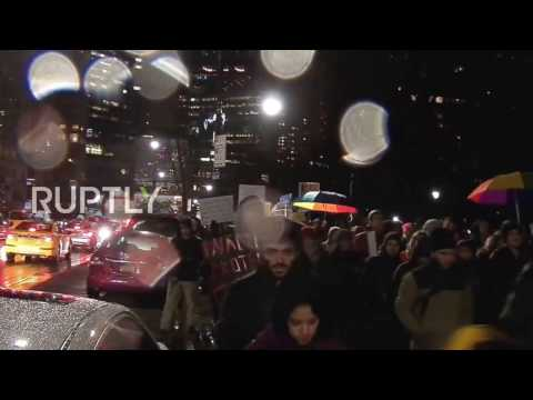 USA: Oil pipeline plan revival sparks march on NYC's Trump Tower