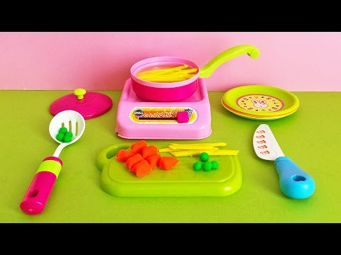 Thumbnail: Soup Cooking Kitchen Playset - Playdoh vegetable soup carrot peas and pasta