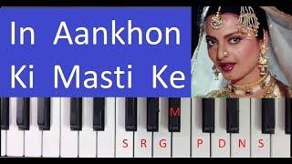 In Aankhon Ki Masti Ke - Harmonium Piano Notes Tutorial