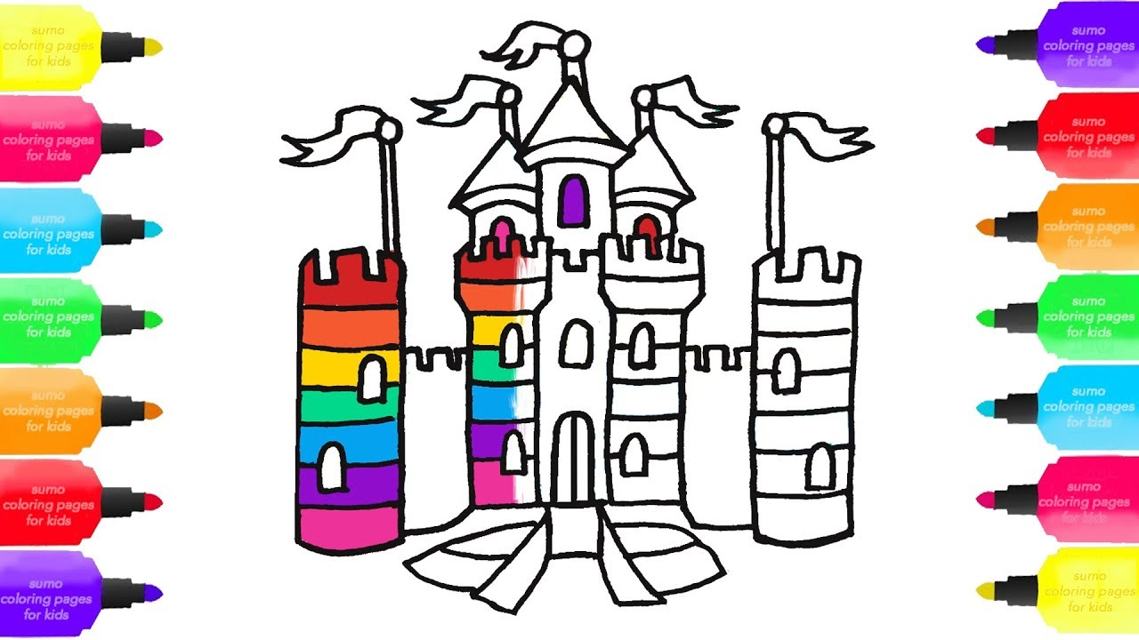 how to draw rainbow castle coloring teaching art sumo coloring