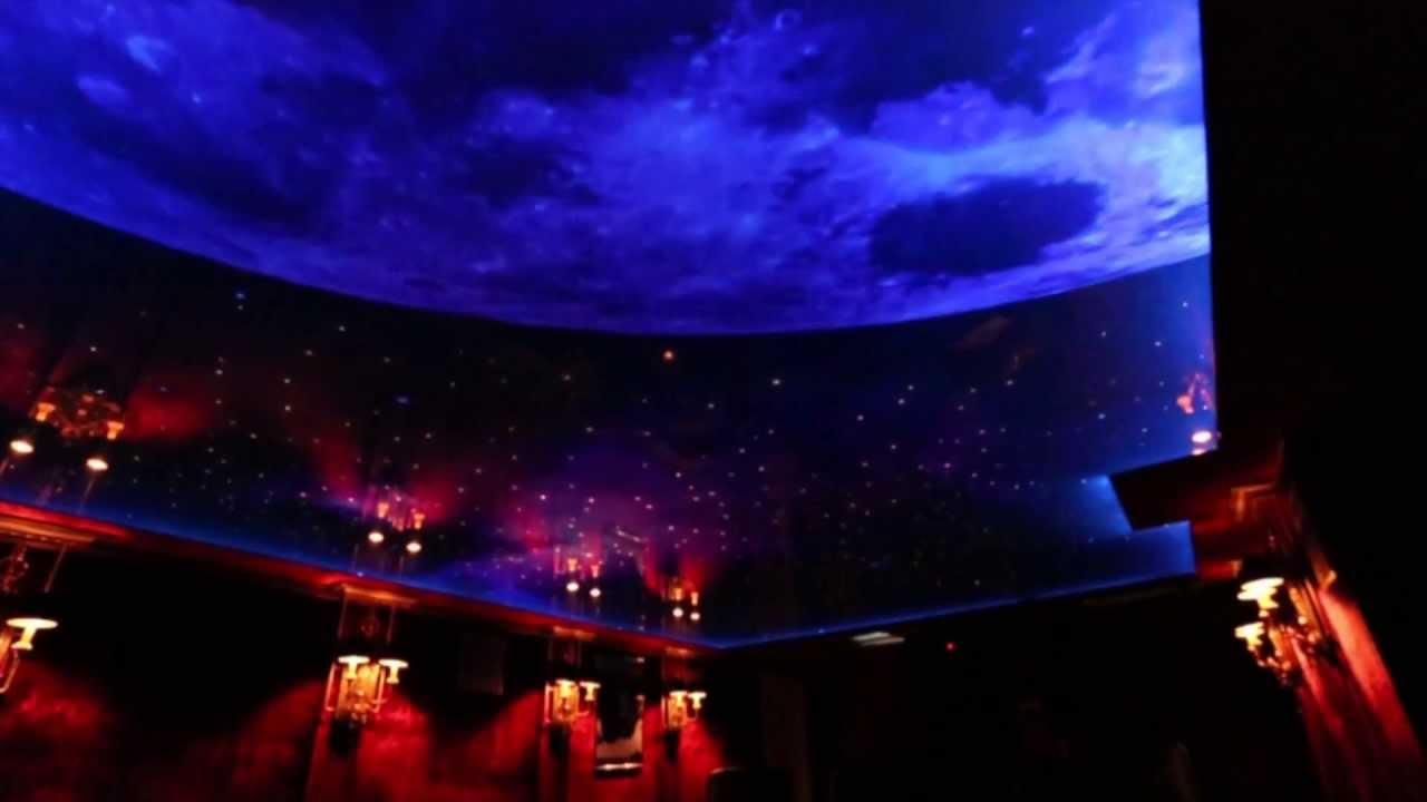 Nigh sky moon and stars printed ceiling with led and fiber optic youtube premium aloadofball
