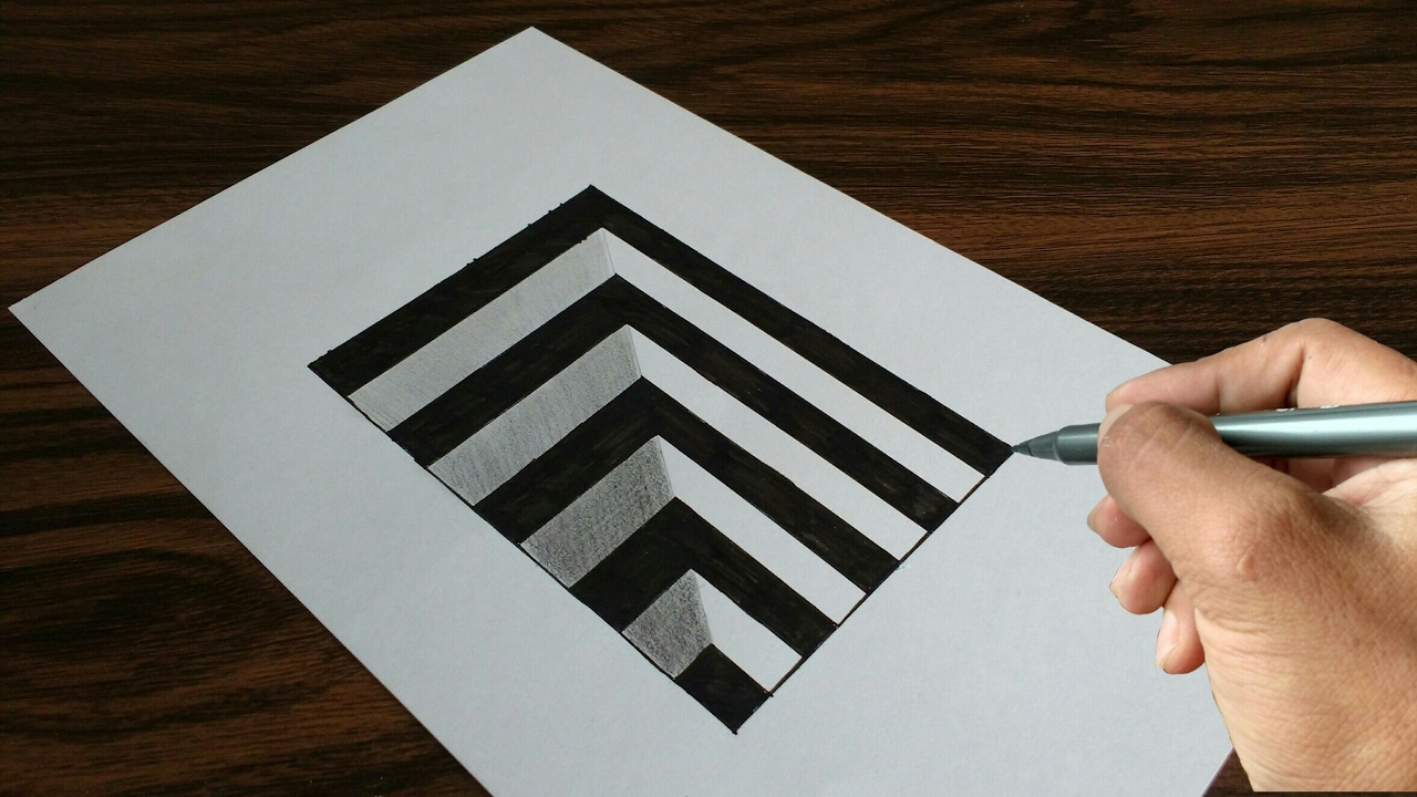 Very Easy Drawing 3d Hole On Paper Youtube