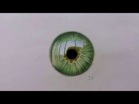 Speed Drawing - green iris (color pencils on paper)