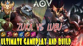ZUKA VS LUBU LANER : ZUKA GAMEPLAY & BUILD SOLO RANKED CONQUEROR - ARENA OF VALOR AOV