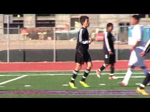 01-12-13 El Paso High Varsity Soccer: Victor R. Vazquez, #3, scores 1st Goal v Anthony.wmv