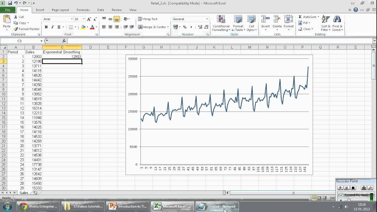 Time Series using Exponential Smoothing (Holt's Linear) - MS Excel