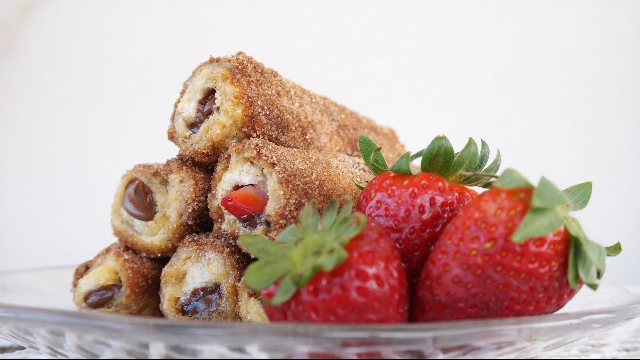 Strawberry & Nutella French Toast Roll Ups