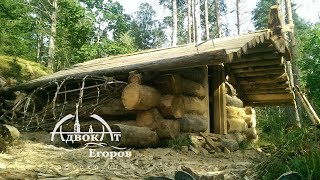 Off Grid Log Cabin Built by One Man: Moving 1000 lbs Logs Solo
