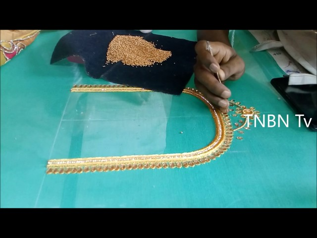 simple maggam work blouse designs | basic embroidery stitches tutorial | aari work blouse designs