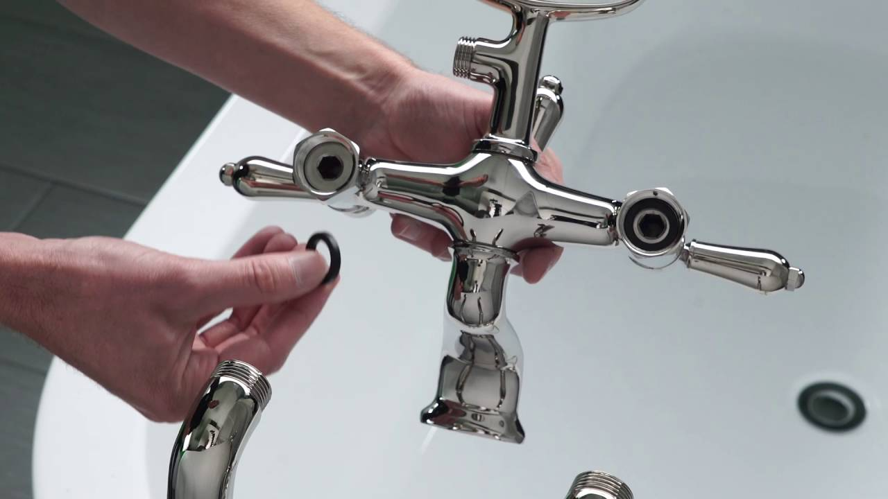 Installing a Traditional Free-Standing Tub Filler - YouTube