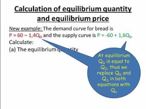 Calculation of equilibrium quantity and equilibrium price