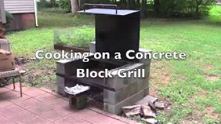 Cooking on a Concrete Block Grill