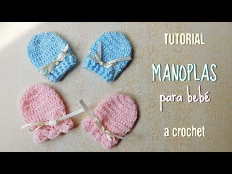 Guantes o manoplas para bebe a crochet - YouTube