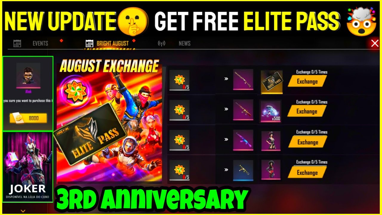 Free Fire 3rd Anniversary Event Full Details || New Event Get Free Elite Pass And Emote In Free 2020