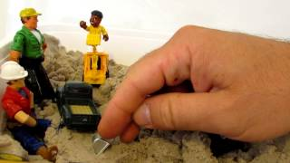 tractors for kids Kinetic sand tray fun with BOB the construction manager lots of die cast tractors