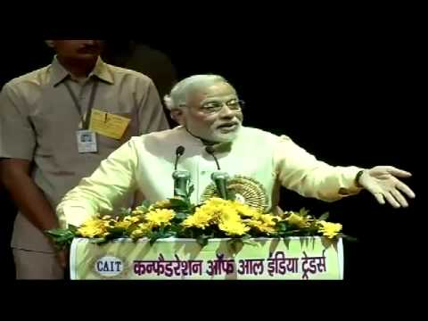 Narendra Modi addressing the All India Traders Convention