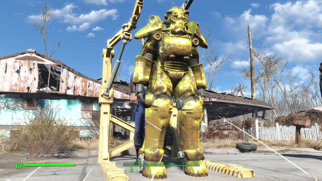 Fallout 4 PS4 MODS - GOLD DELIRIOUS SANITY POWER ARMOR ...