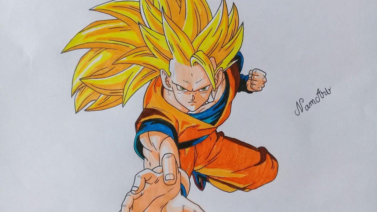 [NamArt] Drawing Son Goku Super Saiyan 3 in Dragon Ball