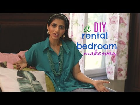 DIY Rental Bedroom Makeover : 5 DIY Home Decor Ideas : Indian Bedroom Makeover