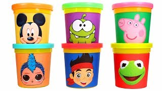 Fun Play Doh Molds Learn Colors with Mickey Mouse Kermit Peppa Pig