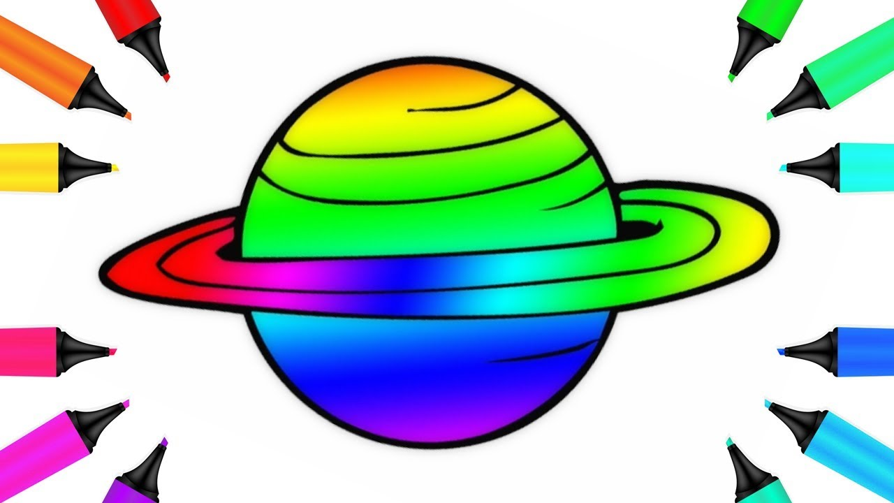 How to Draw Planet Saturn with Rings with Magic Marker Coloring Page ...