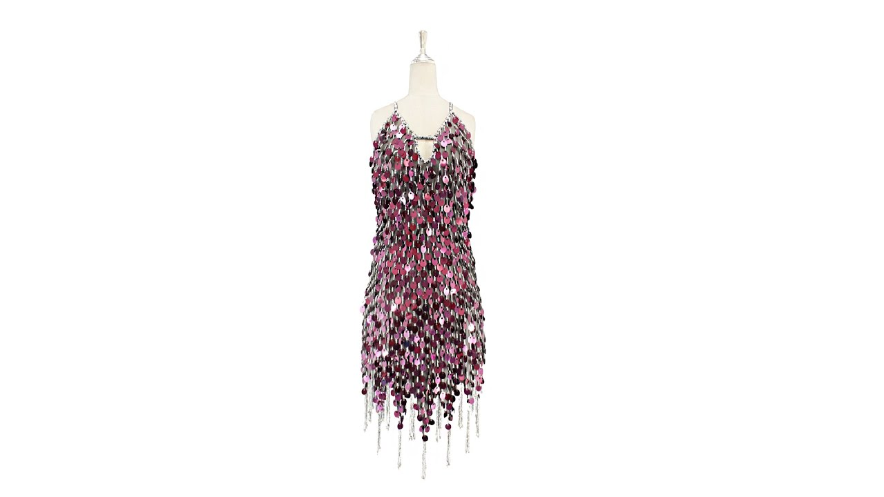 810abbd7f814 Short handmade sequin dress in metallic dark pink sequins with silver  faceted beads, a luxe grey fab
