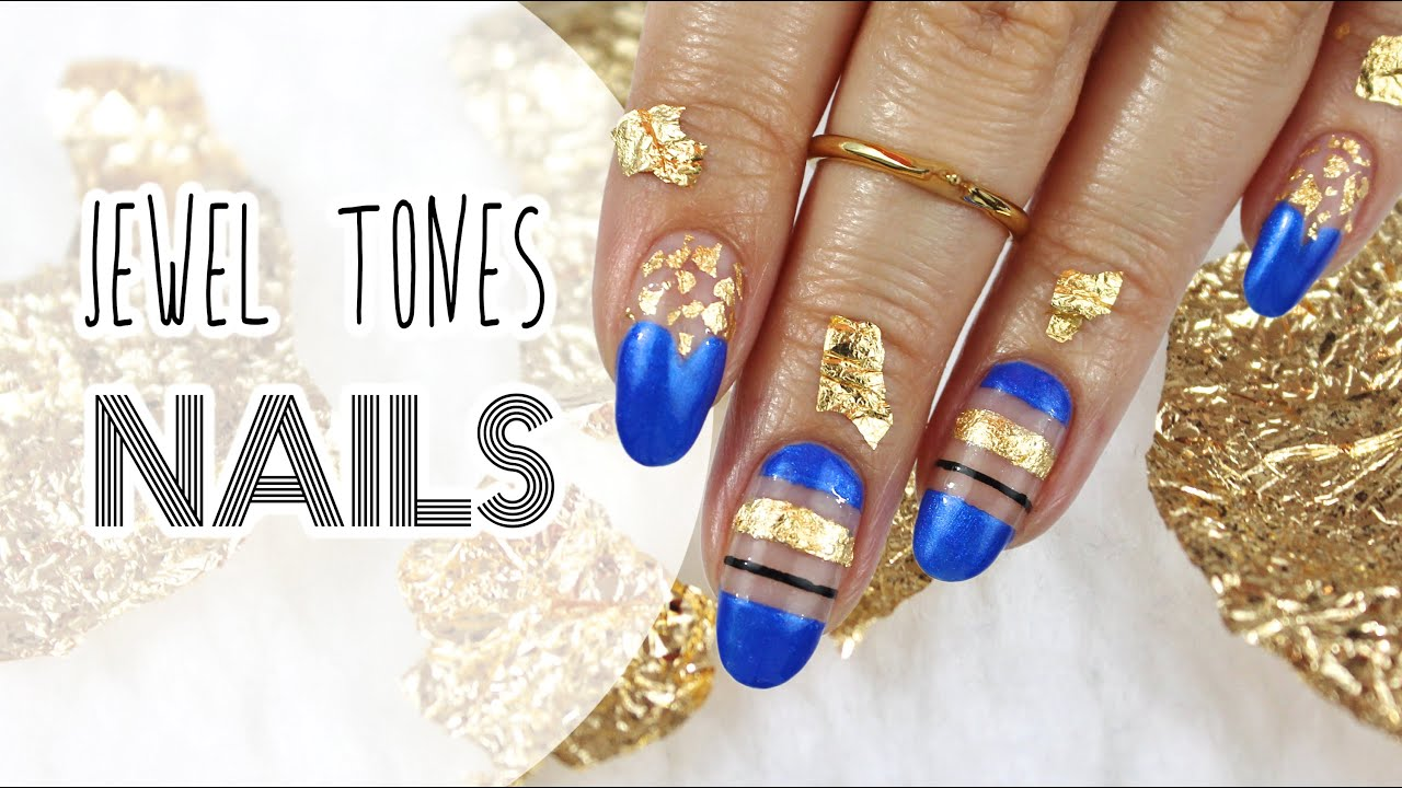 Design 11: Jewel Tones | Sapphire Blue & Gold Leaf Nails For NNAC ...