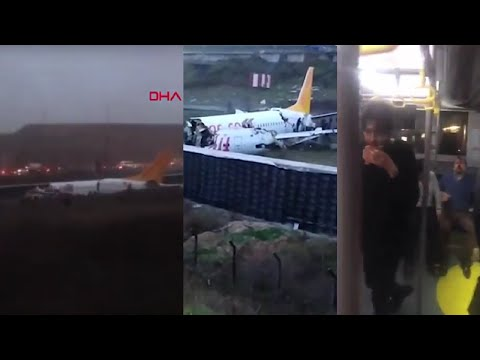 Moment of plane crash in Istanbul