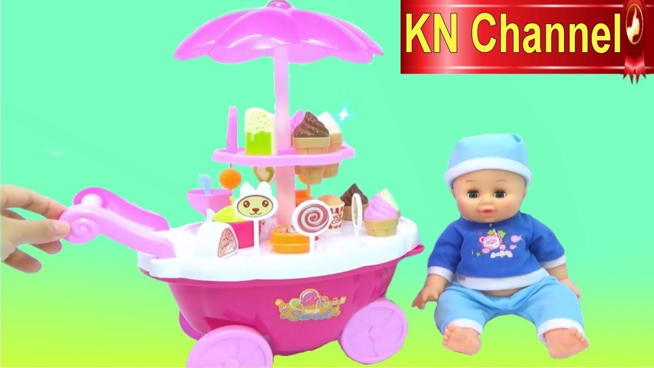 Đồ chơi trẻ em KN Channel | Bé Na & XE KEM 2 TẦNG Ice Cream Shop Toy Baby Doll Kids toys