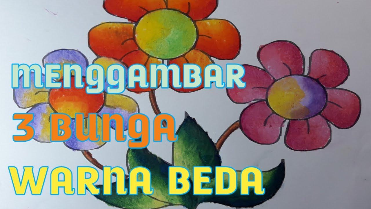 How To Coloring Flower With Crayon Cara Mewarnai Gambar Bunga