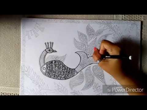 How to make Madhubani/Mithila painting   Indian folk art  Madhubani painting tutorial