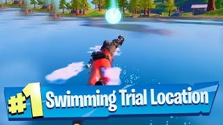 Complete the Swimming Time Trials at Lazy Lake and East Of Hydro 16 - Fortnite (Dive Challenge)