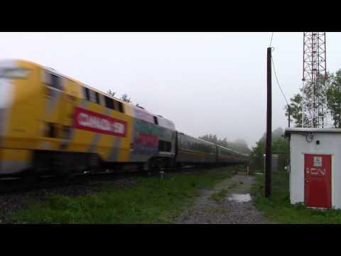 Ontario Trip 2017 Video 89 of 111: VIA 60/50 @ Newtonville Canada 29MAY17 F40PH-2d 6436 Leading