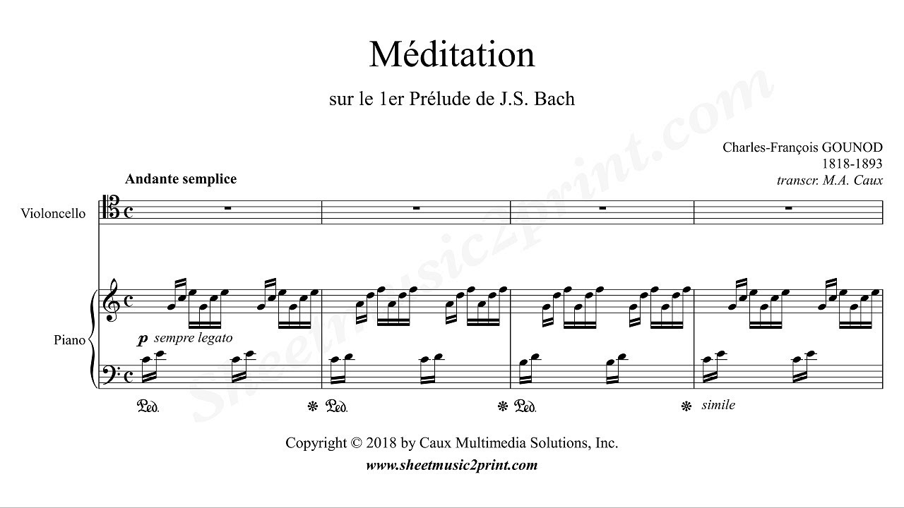 Gounod-Bach : Ave Maria - Meditation - Cello