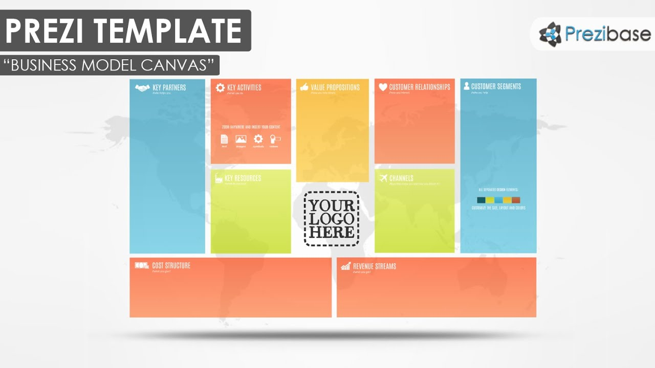 business model canvas - prezi template - youtube, Powerpoint templates