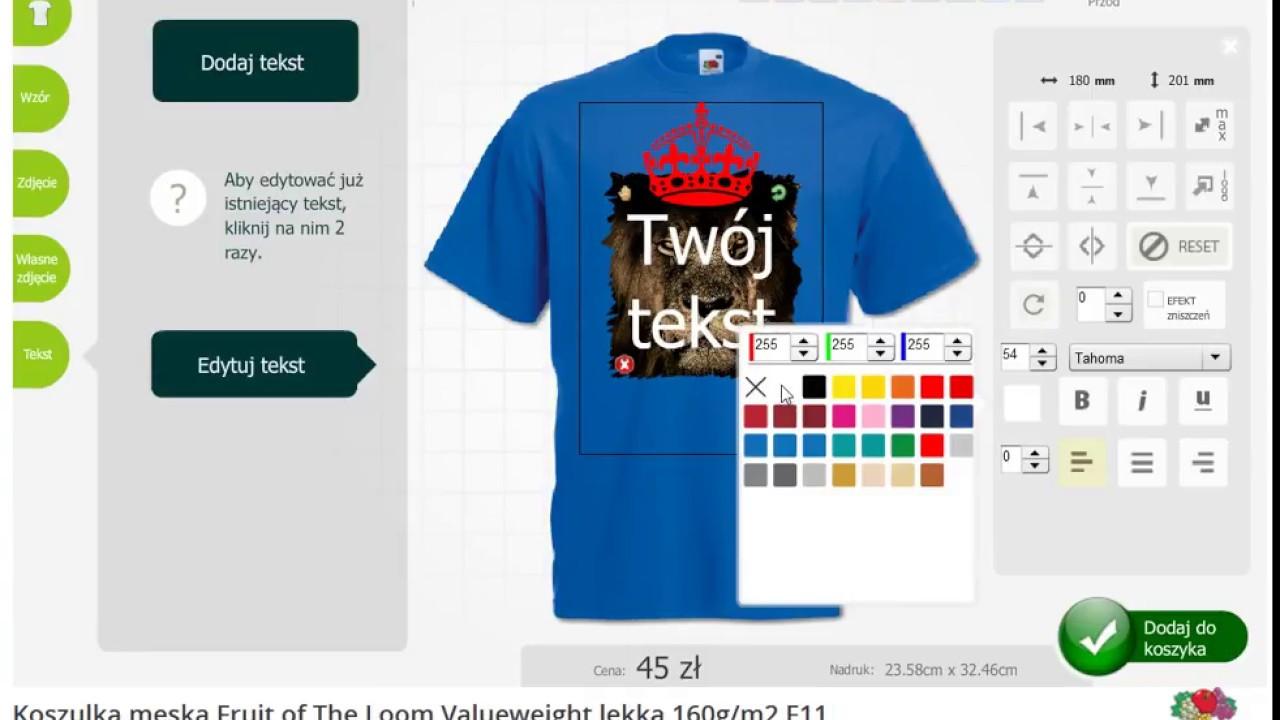 643643999 Koszulki z własnym nadrukiem - kreator koszulek | Koszulkomat