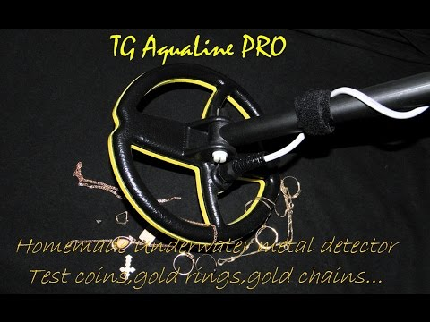Homemade underwater metal detector-TG Aqualine PRO -Test gold rings,chain,coins.