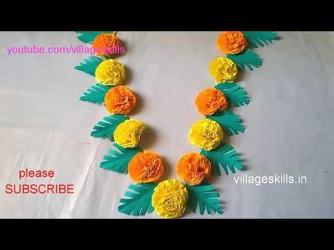 How to make garland for varalakshmi vratham/Ganesh chaturthi / DIY home decor crepe paper garland