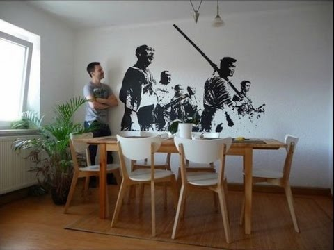 Easy decorative wall painting techniques youtube for Easy wall painting techniques