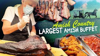 Trying LARGEST AMISH BUFFET | Amish Country FOOD TOUR in Lancaster Pennsylvania