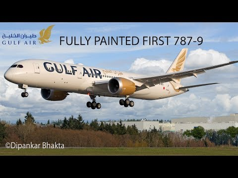 Fully Painted 2018 New Livery Gulf Air B787-9 (A9C-FA) landing @ KPAE