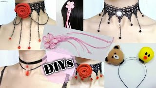 5 Amazing DIY Chokers&Hair Accessories (Scratch):DIY Gothic Chokers, Cherry Blossom Hairclip, more