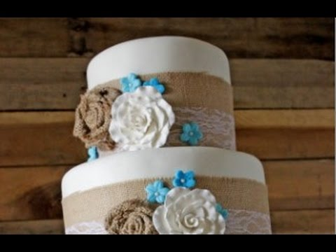 Lace And Burlap Wedding Cake   YouTube Lace And Burlap Wedding Cake