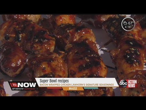 Touchdown Tenders - bacon-wrapped chicken grilled!
