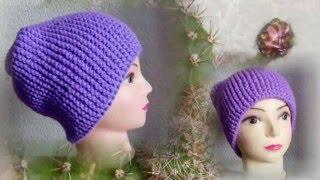 шапка чулок спицами поперечное вязание  шапка бини