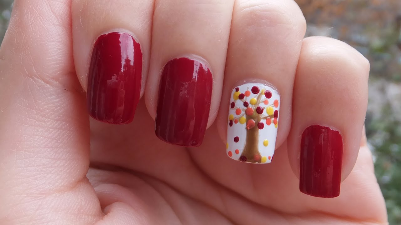 Easy Autumn Tree Nail Art Tutorial - YouTube